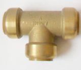 Brass Push Fit 28mm Equal Tee 28mm Fitting - 27242201